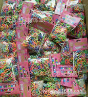 Cheap Wholesale- Rainbow Loom charms bands Silicone Rubber Band colorful bag 600bands+24clip,500bag lot
