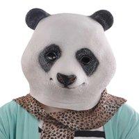 animal mascara - 2015 Panda head mask latex giant panda wigs mask animal cosplay wigs mask mascara preta realistic halloween masks