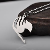 Wholesale Silver Fairy Tail Necklace Pendant Metal Necklace Natsu Dragneel Tattoo lucy Heartfilia anime cosplay chain