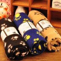 Wholesale New Pet Small Large Warm Paw Print Dog Puppy Cat Pig Fleece Soft Blanket Beds Mat