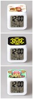 Wholesale Colorful Alarm Clock LED Flash clock Seven colors transform cartoon Small yellow man