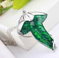 Vintage Señor de los anillos Verde Hoja Espíritu Elven Broche Planta Colgante Collar cadena El Señor de los Anillos AS25