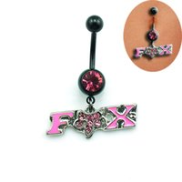 bell fox - High Quality New Belly Button Rings L Stainless Steel Rhinestone Fox Navel Rings Body Piercing Jewelry