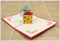 wholesale gift cards - 3d handmade card gift card d pop up greeting card cute gift post card