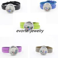 Wholesale 30mm stainless steel twist top crystals locket with leather bracelet