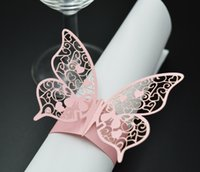 napkin napkin ring - 120pcs Wedding Banquet Serviette Paper Holder Butterfly Pattern Feast Party Table Favors Laser Cut Napkin Ring wc308