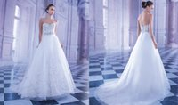 demetrios wedding dress - 2015 Crystals Beading Demetrios Wedding Dresses Vestidos A Line Sweetheart Sash Tulle Sweep Train Backless Buttons Winter Bridal Gown
