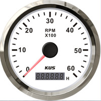 Wholesale 85mm tachometer white faceplate red light stainless steel bezel car marine truck KL rpm for diesel engine