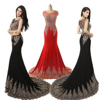 Wholesale Plus Size Prom Evening Dresses Sheer Neck Embroidery Red Black Royal Blue Formal Wedding Party Gowns Wear Arabic Real Image