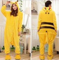Wholesale New Adults Flannel Pajamas All in One Pyjama Animal Suits Cosplay Adult Winter Garment Cute pikachu Cartoon Animal Onesies