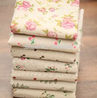 Wholesale Romantic Lovely Flower Style Flax Fabric for Table Cloth and Table Met DIY with order lt no track