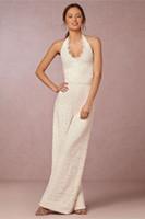 halter top wedding dress - Lace Bridal Jump Suits Wedding Wear Halter Top Floor Length Lace Wedding Dress New Custom Made