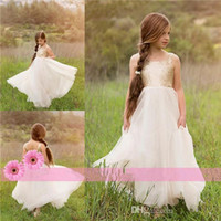 beauty baby pictures - 2016 New Lovely Girls Beauty Flower Girls Dresses For Baby Kids Teens Cheap Ivory and Gold Sequin Bohemian Garden Tutu Wedding Party Gowns
