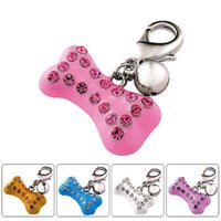 Wholesale Bling dogs Hanging Collar Charms Bone Shaped Cats Doggie Pets Collar Tags Alloy pendants Dogs Grooming Necklace Chain Accessories