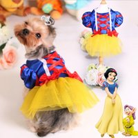 Wholesale New Dog Apparel Pets Supplies Summer Cartoon White Snow Princess Pet Dress Cute Dog Teddy Clothes Apparel MC