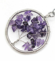 Trendy alloy brass wire - Tree of life Wire Wrapped Chip Amethyst Pendant Silver Brass finding with chip gemstone natural Gemstone Pendant
