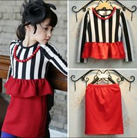 dress material - 2015 Spring Autumn Korea Outfits Stripe Lovely Outfits Set Good Material Long Sleeve Dress Red Skirt With Necklace Girl Outfits IA8Q