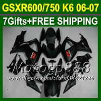 7Gifts + Cowl GSX-R750For SUZUKI GSXR600 06 07 GSX-R600 TODO mate negro K6 1058 GSXR 600 GSXR750 750 2006 2007 carenado Body Kit plana negro