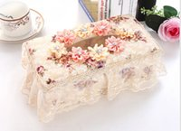 Wholesale Fashion European Style Beautiful Tissue Box Style Cloth Material Napkin Box Tissue Paper Holder for Decoration