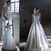 Cheap 2015 New Arrival Ball Gown Off-the-shoulder Jewel Sheer Neck Wedding Dresses Romantic Stretch Satin Open Back Floor Length Bridal Gowns