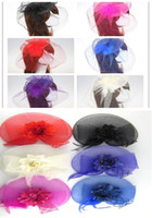 Wholesale The New boho Gauze Feather Wedding Hair Accessories Lace Flowers Performance Woman Hair Jewelry Heart shaped Bow Party Jewelry