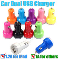 Wholesale Dual USB Car Charger Universal Trumpet buglet mini Universal Adapter passthrough for electronic ipad iphone S e cig smart Cell phone