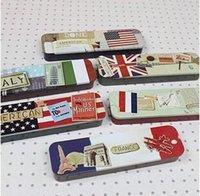Wholesale Free ship pc National flag hand push metal box stationery box pencil case order lt no tracking