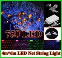 5pcs 4 * 6m 750 Guirlande LED net lumière 9 modes de flash 110V 220V UE américains avec Plug Power Party de Noël Noël Décorations de mariage chaînes 750LED N