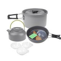 Wholesale 2014 Aluminum Oxide Outdoor Camping Pot Set Hiking Cookout Picnic Cookware Teapot Coffee Kettle Set All in One for People