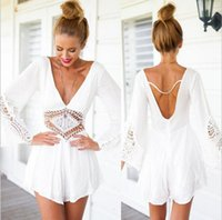 Wholesale 2015 New Fashion Deep V Romper Womens Jumpsuits Sexy White Hollow Out Playsuits Club Bodysuits Jumpsuits