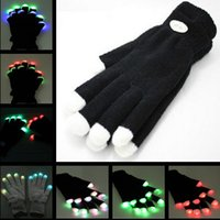 Wholesale 2015 Modes color changing Flashing Fingertip Light LED Gloves Mittens Costumes Rave Party Skating Riding