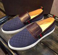 Wholesale slip ons luxury fashion men s genuine leather Shoes blue black size