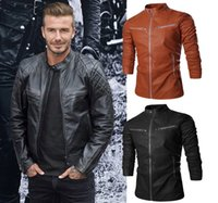 100% leather jackets - 2016 Autumn Winter Clothing Outerwear Coats New Men s PU Leather Short Jackets Motorcycle Zipper Leather Coat Black Brown M XXL NY7