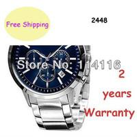 Cheap New AR2448 2448 Quartz Chronograph mens Watch Japan Movement Stainless Steel Strap Gents Wristwatch + Original box