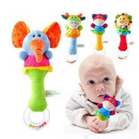 Wholesale Lovely Baby Kid kids Soft Animal Model Handbell Rattles Handle Developmental Toy