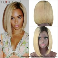 blonde lace front wigs - New arriveal Two tone omber color virgin Brazilian hair Blonde Beyonce style lace front human hair wig hot beauty brazilian hair weave