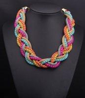 Wholesale Statement Necklaces Fashionable vintage chocker Multicolor Alloy Short Chain twist Necklaces Women Jewelry Accessories