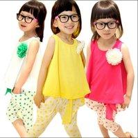 Spring / Autumn sport clothing wholesale - Girls Clothing Sets Summer Korean Sport Suits For Kids Flower Vest T shirt Dot Pants Children Casual Sets Colour TR109