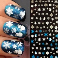 Wholesale Christmas Snowflakes Snowman Design Xmas D Nail Art Stickers Decals Decoration Girl DIY Decorations Fingernail Accessories JC03131