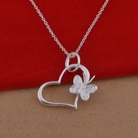 Wholesale 925 sterling silver necklace Korean version of the popular butterfly heart necklace jewelry trade spot