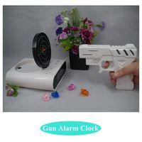 Wholesale Novelty Gun Alarm Clock LCD Laser Gun Shooting Target Wake UP Alarm Desk Clock Gadget Fun Toy Gun Alarm Clock A3