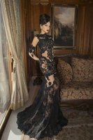 chocolate diamonds - Oved Cohen High Neck Long Sleeves See Through Black Lace Fashion Sexy Elegant Maxi Long Dress New Diamond Evening Gowns Dresses