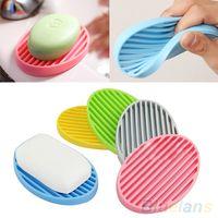 Wholesale Creative Silicone Flexible Toilet Soap Holder Plate Bathroom Soapbox Soap Dish