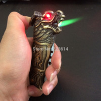 Wholesale Fantastic in Windproof Dragon Lighter With Folding Knife Red Light Eyes Green or Red Flame Great Collectable
