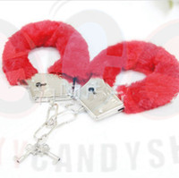 Wholesale Metal Fuzzy Furry Hand Cuffs Products For Sexy Shop Adult Games Sexy Toys Brinquedos Eroticos For Flirting Algema Multicolors