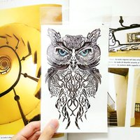 Wholesale attoo Body Art Temporary Tattoos Wise Owl Temporary Tattoo Body Art Flash Tattoo Stickers cm Waterproof Fake Tatoo Car Styling Wall