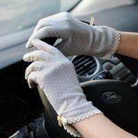 Wholesale Fashion Driving Women Cotton Gloves Antiskid Lace Bowknot Dots Short Sunscreen Gloves Summer
