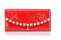 Wholesale 2015 New Fashion Wallets For Women Rose Chain Charm Purse Candy Color Lady Handbag Mix Colors