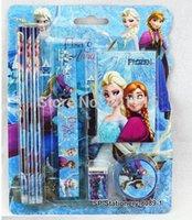 Wholesale 10sets The Newest Fashion Kids Stationery Set Frozen Anna Elsa Cartoon Children School Study Stationery