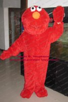 Wholesale Newest Long Fur Red Monster Freak Monstrosity Elmo Waving One Hand Mascot Costume Mascotte Adult Outfit Suit No Free Ship